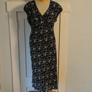 NWT Rena Rowan black and white flowered maxi dress